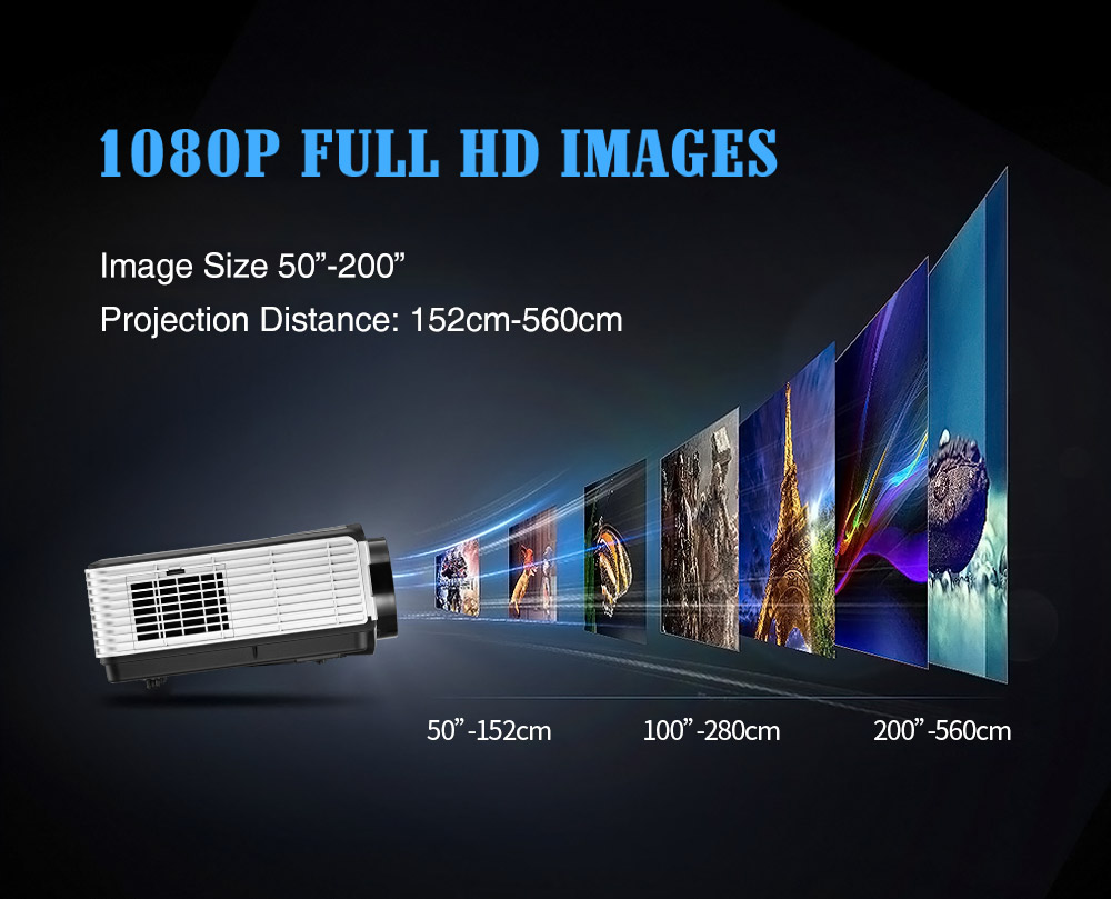Eug Brand LED Projector 3000 Lumens LED Support HDMI and USB projector