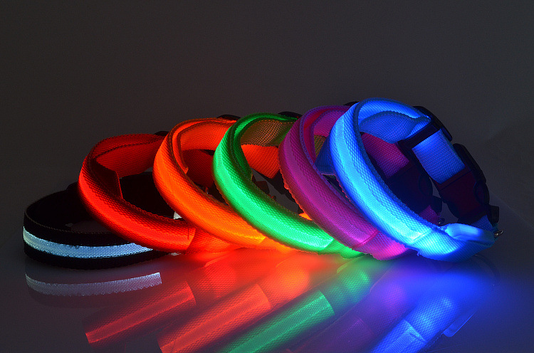 Pet premium large size pitbull LED flashing nylon dog collar for sale