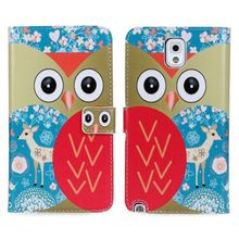 Wallet Style Owl Pattern Leather Case with Card Slots for Samsung Galaxy Note 3 N9000 N9009 N9006 N9005 Free Shipping