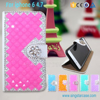 Luxury Bling Glitter Diamond PU flip leather case for iphone 6 plus