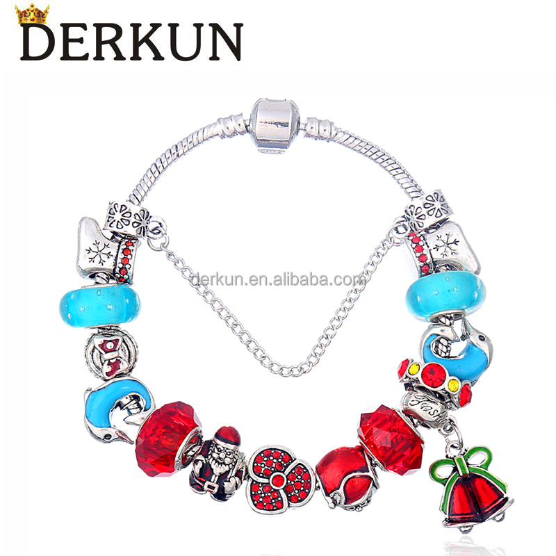 European Style Large Hole Charms Beads Charm Bracelet for Women Christmas Gift 18-21cm Fashion Jewelry DIY