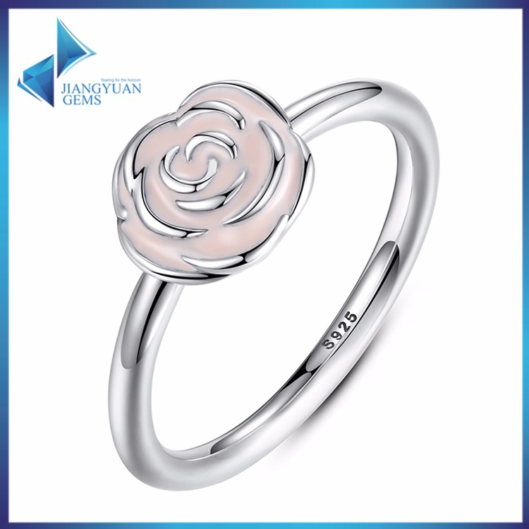 fashion jewellery for women cute pink flower silver ring
