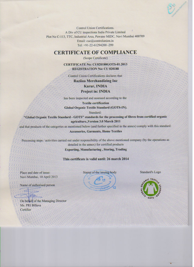 Organic GOTS Certification