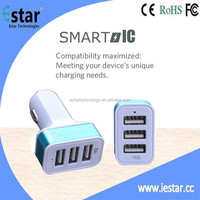 High Speed USB Car Charger 25W / 5.1Amps, Triple Port, Auto Detect Technology for Apple iPad Air / Air 2, iPad Mini Retina 2,
