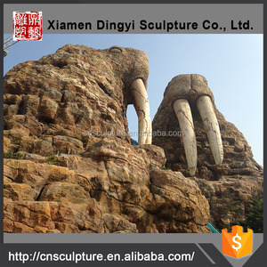 Theme park outdoor fiberglass artificial rock waterfall