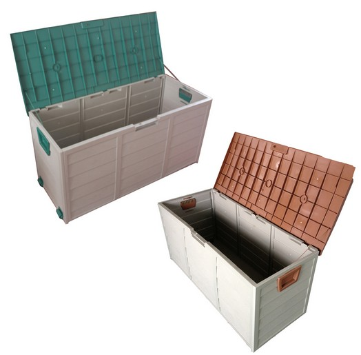 plastic storage box with handle & wheels, 290L garden plastic shed, PP case