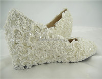 Handmade Lace Diamante Bridal Shoes Pearl Round Toe Wedge Wedding Shoes 1.1-2.2 inches Heel high/Size 4.5-10