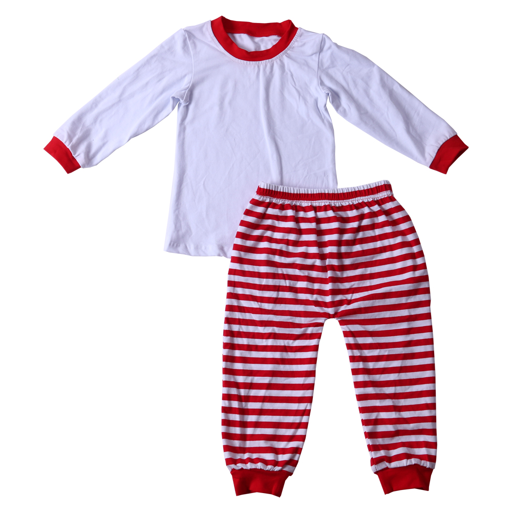 Export China factory cheap goods red and green striped sleepwear round neck sleepwear pajamas baby kids boys girl cotton pajama
