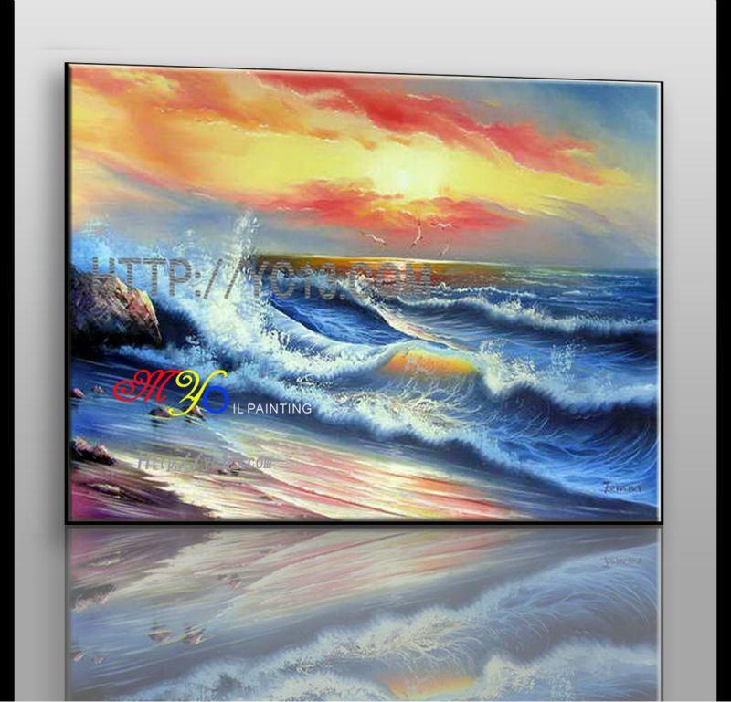 home decor wall art abstract tide sunset sea oil painting on canvas ZQ-41