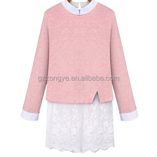 New fashion casual cashmere cloth blouses with lace stitching lower hem for women