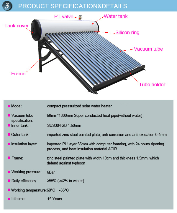 Popular type compact high pressure heat pipe hot water solar heater