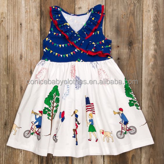 hot sale children 4th of July boutique dress giggle moon remake kid dress