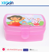 Taizhou supplier portable plastic lunch box kids with cartoon printing
