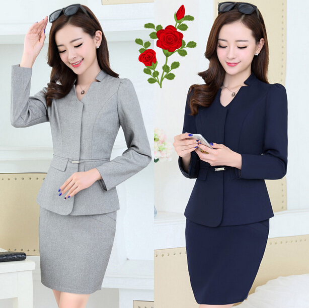 Hot sale factory wholesale OEM design chantilly front office uniforms /lady office skirt suits