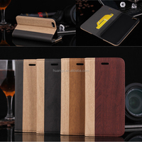 New Products Double Color Wood Pattern Wallet Cover Flip Leather Case for iPhone 6 with Stand and Credit Card Slots