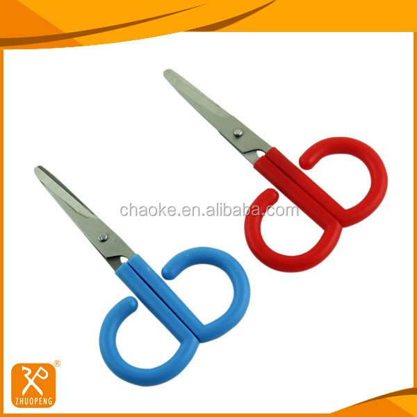 Stainless steel blade plastic handle with safety cap baby scissors