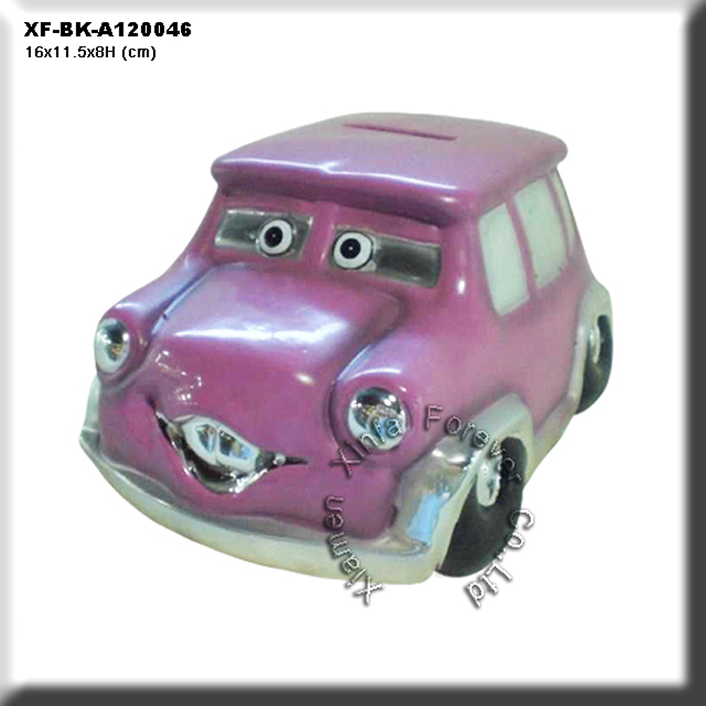 unique unpainted bisque ware car coin bank