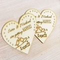 Wood save the date heart fridge magnet