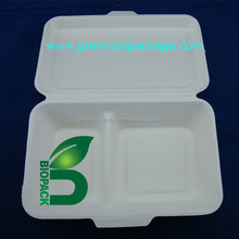 2 compartment hinged container, sugarcane bassage disposable food packaging box