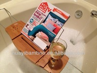 Natural bamboo and metal chrome-plated bathtub caddy