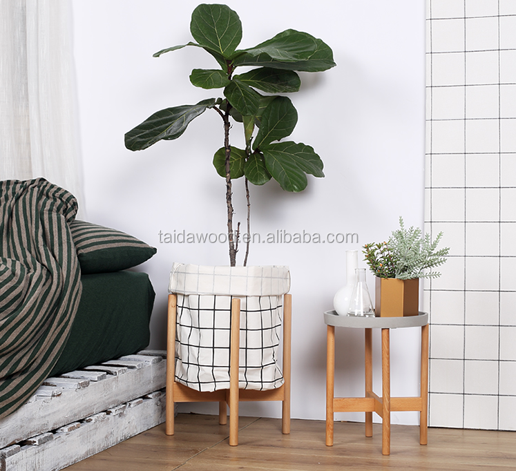 Home decorative folding wooden plant stand for holding flower pot