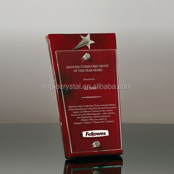 Elegant Design Nice Glass Crystal Wooden Plaques With Floating Glass as Souvenir awards
