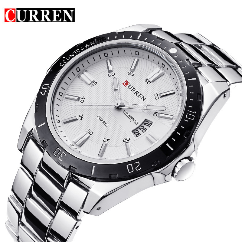 Curren wrist watch for men stainless steel back quartz quality watches