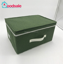2017 hot selling custom cheap collapsible bra organizer bins closet embossed non woven cardboard storage box with handle