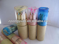 6pcs wooden color pencil in paper tube