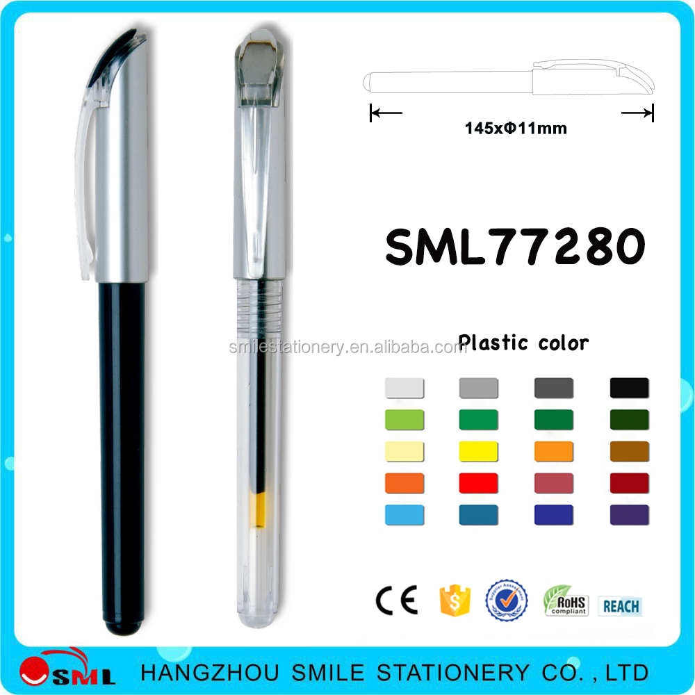 Plastic gel pen black barrel gel ink pen with custom logo for promotional