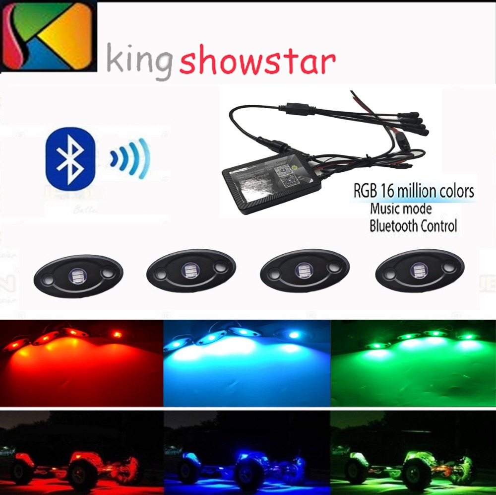 4 pods RGB LED Rock Light Kits with Cellphone APP Bluetooth Control for JEEP Off Road Truck Car ATV SUV Vehicle Boat