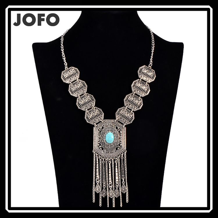 New Arrival Tibetan <strong>Silver</strong> and Turquoise Beads Tassel Pendants Necklaces For Women 2016