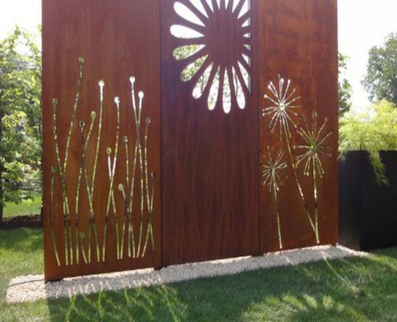 Free Stand Laser Cut Corten Steel Garden Folding Privacy ...