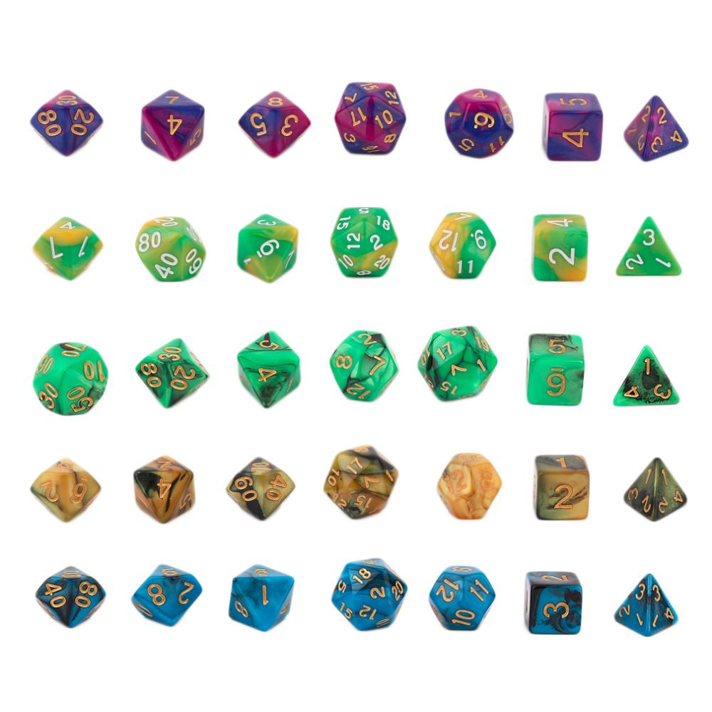 2017 Hot Creative Dual Color Mixed Series 7 Pcs Set Multi-Faceted Acrylic Dice 16-20mm D4 D6 D8 <strong>D10</strong> D12 D20 WHolesale