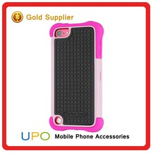 [UPO] 3 in 1 Rugged Rose Red Silicone Hard Plastic Rubber Back Cover Case for iPod Touch 5