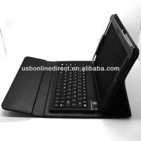 "cheap Silicone wireless Bluetooth 3.0 Keyboard + Leather case for Samsung Galaxy Tab 10.1"" BLACK"
