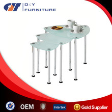 3pc Nesting Tables Frosted Glass Tops Chrome Legs