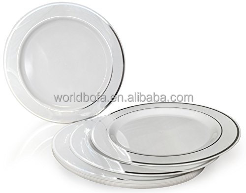 PS disposable wedding party plastic silver rim dinner plate set