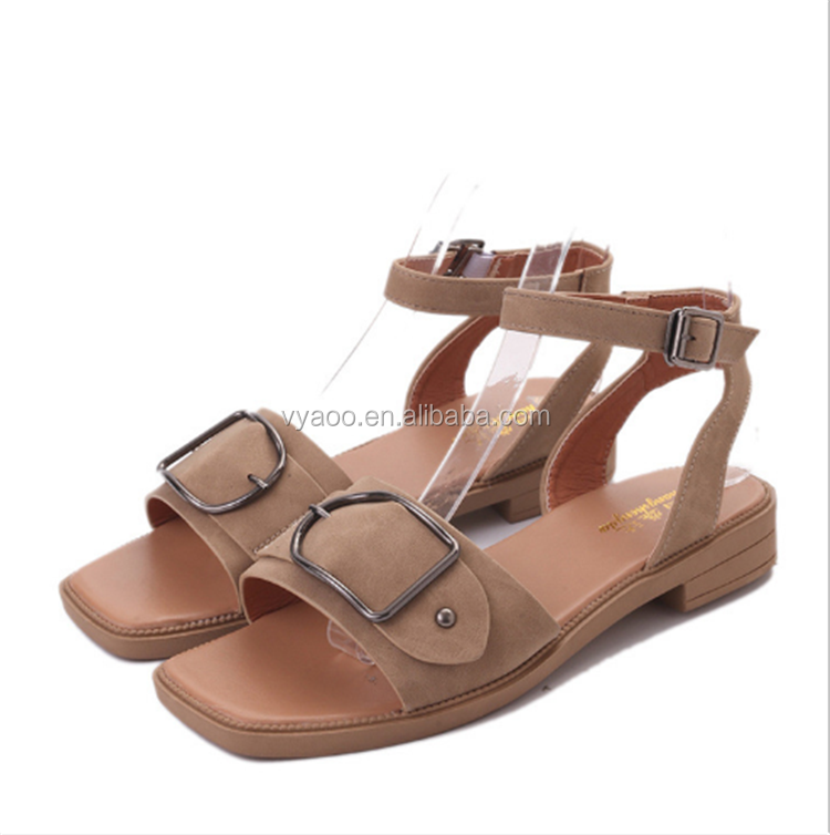 2017 women sandals shoes Roman style a word buckle type