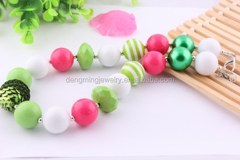 Popular latest DIY design beads necklace kids acrylic flower necklace