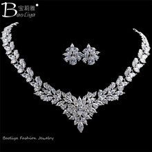 2015 Latest Design Popular Flower Shaped Earring and Necklace Wedding Jewelry Set