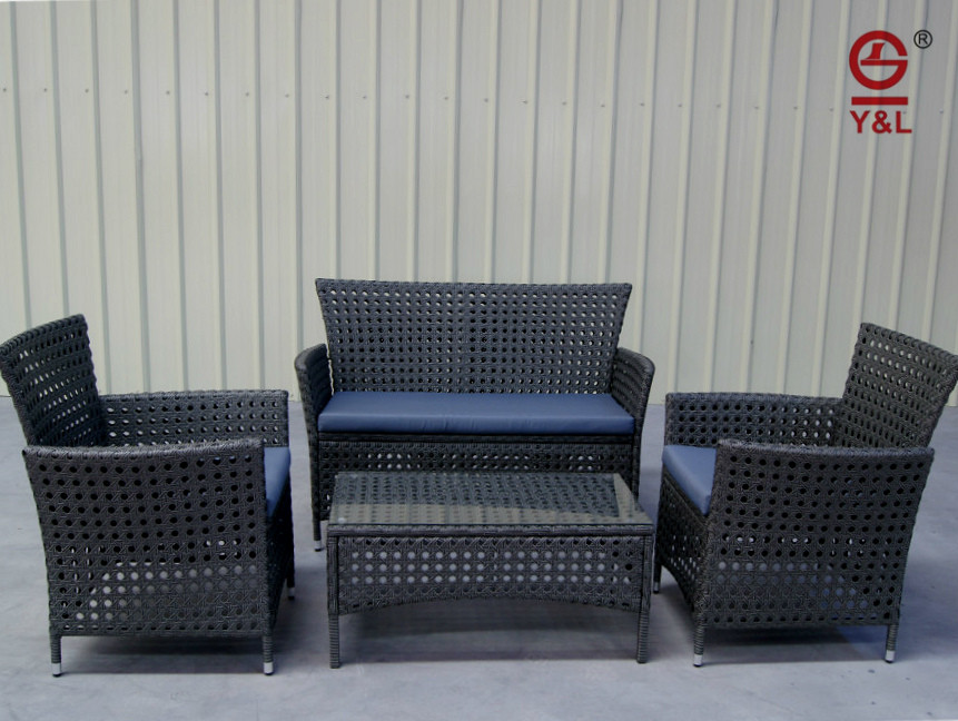 3 seat rattan outdoor furniture set/PE wicker garden leisure product table and chair