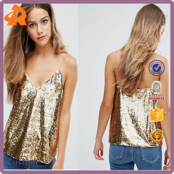 Sexy Sleeve blouse sequin t shirt fashion new design ladies fancy sequin top