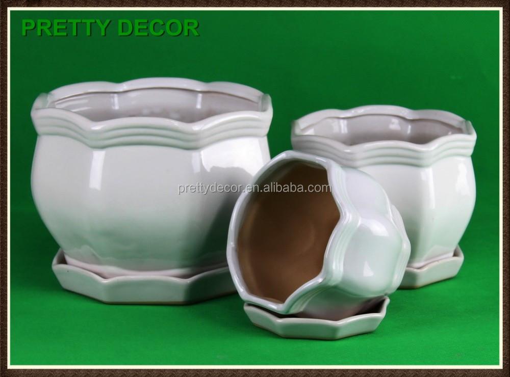 Color glazed ceramic flower pot garden flower planter for 6 ceramic flower pots