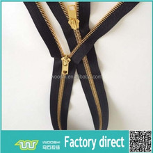 Shiny gold heavy duty metal zippers for special large handbags
