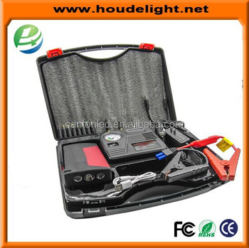 portable car jump starter with tire air pump compressor emergency hammer knife led light dual usb