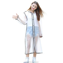 ladies transparent raincoat Fashion Clear Rain Coat unique colorful EVA rain coat