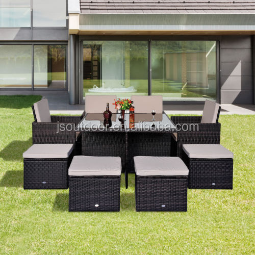 Rattan Outdoor Garden 9 pcs Cube Set with Parasol Hole Furniture