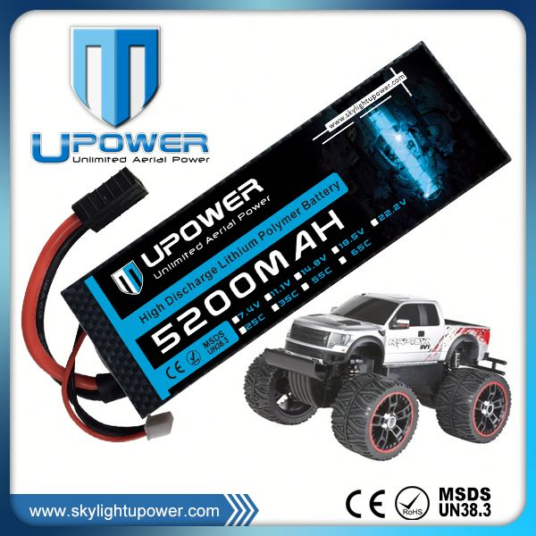 Upower high rate C 5200mah 22.2v 3300mah rc helicopter/car lipo battery pack for rc drift car