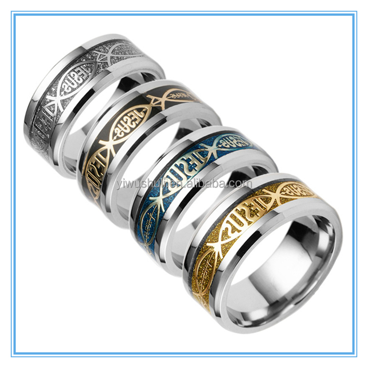 Aliexpress hot wind supply religious Christian Jesus letter JESUS titanium <strong>ring</strong>